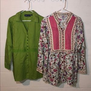 Lot of 2 Boho Peasant Button Shirts Size 1X